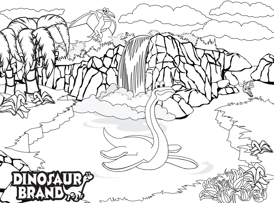 Dino101 Fossil Falls Coloring Page